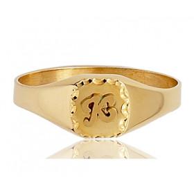 Chevaliere en or 750/1000 ronde et personnalisable pour femme