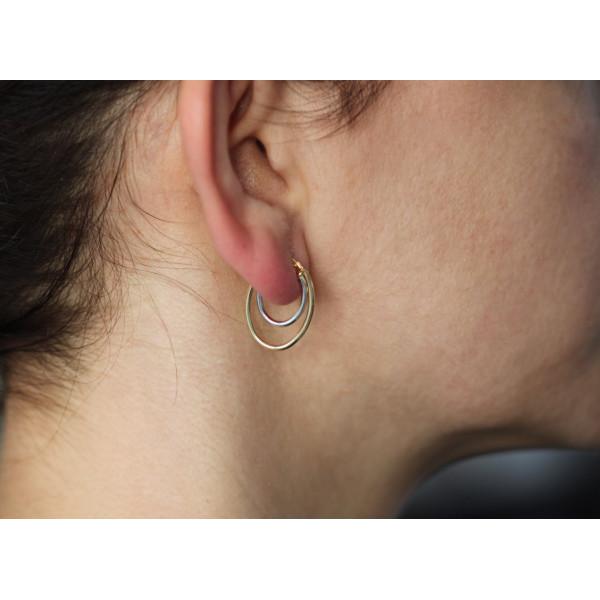 Boucles d'oreilles deux or 750/1000 carats créoles ovales