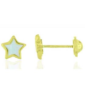 """Boucles d'oreilles en or jaune 18 carats """"étoiles"""" laqués blanc pour filles."""