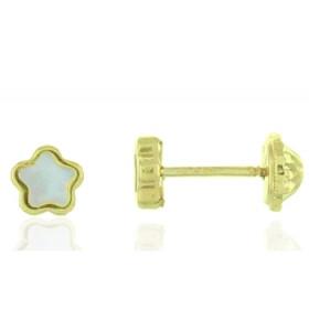 """Boucles d'oreilles en or jaune 18 carats """"fleurs"""" laqués blanc pour filles."""