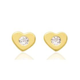 Boucles d'oreilles en or jaune 18 carats cœurs  et zirconium pour filles.