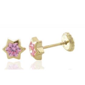 """Boucles d'oreilles en or jaune 18 carats """"étoile"""" et zirconium rose pour filles."""