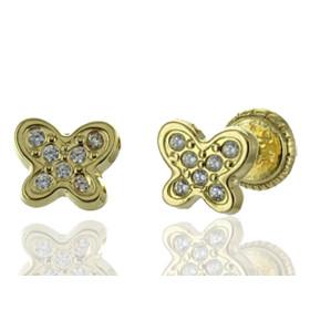 """Boucles d'oreilles en or jaune 18 carats """"papillons""""  et zirconiums blancs pour filles."""