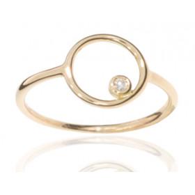 Bague or rose 18 carats et diamant 0,020 carat