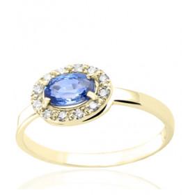 Bague en or jaune 18 carats, diamant 0,10 carat et saphir ovale pour femmes