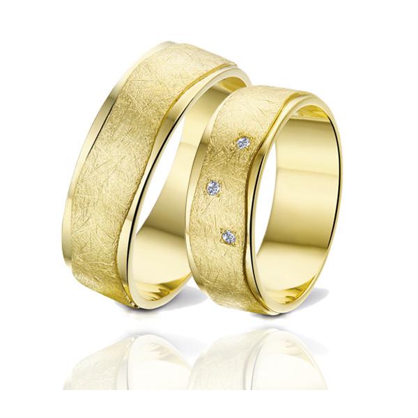 Duo d'alliances Angeli Di Bosca or jaune 18 carats et diamants 0,030 carat