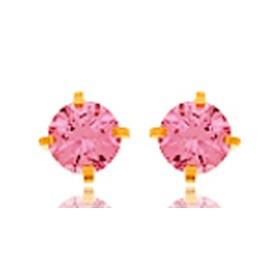 Boucles d'oreilles en or jaune 18 carats cœurs  et zirconium rose pour filles.