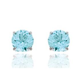 Clous d'oreilles en or blanc 18 carats cœurs  et topazes bleues pour filles.