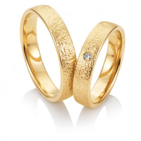 Duo d'alliance femme or jaune 18 carats et diamant BREUNING