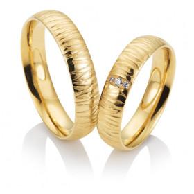 Duo d'alliance femme or jaune 18 carats et diamant BREUNING