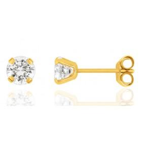 Boucles d'oreilles en or jaune 18 carats et zirconium blanc 3 mm pour filles.