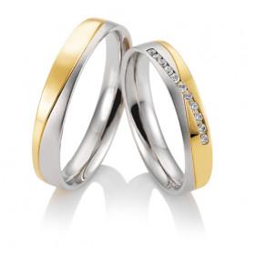 Duo d'alliances Breuning deux ors (or blanc et or jaune) et diamant 0,11 carats