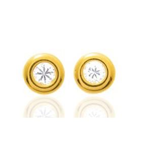 Boucles d'oreilles en or jaune 18 carats et zirconium blanc 3 mm bouée pour filles.
