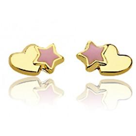 Boucles d'oreilles en or jaune 18 carats et cœurs & étoiles laqués pour filles.