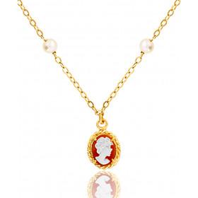 """Collier or jaune 18 carats """"Belle Epoque"""", perles et camée"""