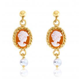 """Boucles d'oreilles or jaune 18 carats """"Belle Epoque"""", perles et camée"""