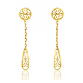"Boucles d'oreilles pendants or jaune 18 carats ""Belle Epoque"" filigrane"