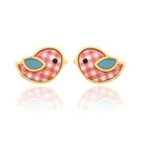 """Boucles d'oreilles en or jaune 18 carats """"petits moineaux"""" laqués pour filles."""