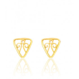 "Boucles d'oreilles or jaune 18 carats ""Belle Epoque"" filigrane triangle"