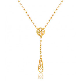 "Collier or jaune 18 carats ""Belle Epoque"" filigrane pendants"
