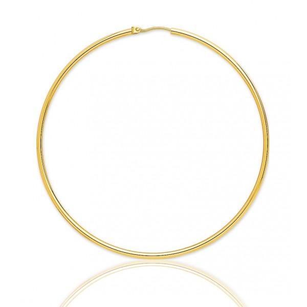 boucles d'oreilles or jaune 18 carats 65 mm pour femmes