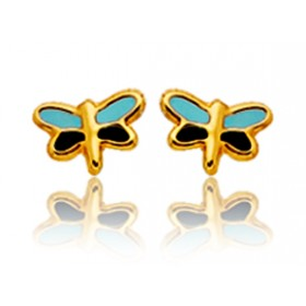 """Boucles d'oreilles en or jaune 18 carats """"libellules"""" laqués pour filles."""