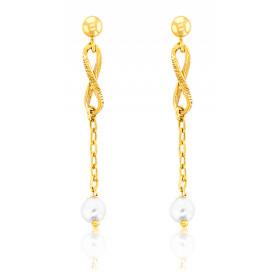 """Boucles d'oreilles or jaune 18 carats """"Belle Epoque"""" avec perles"""