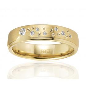 Bague alliance Breuning en or jaune 18 carats et diamant 0,082 carat