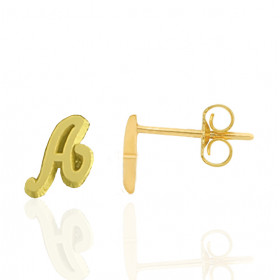 Boucles d'oreilles or jaune 18 carats personnalisée avec une initiale