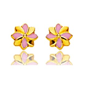 """Boucles d'oreilles en or jaune 18 carats """"fleurs"""" laqués pour filles."""