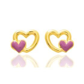 """Boucles d'oreilles en or jaune 18 carats """"cœurs"""" laqués pour filles."""