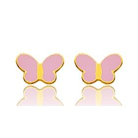 Boucles d'oreilles en or jaune 18 carats et papillons laqués pour filles.