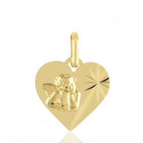 médaille ange  sur cœur en or 18 carats