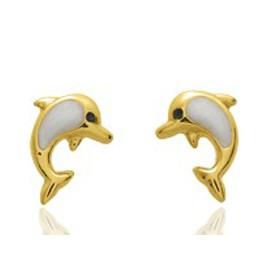 """Boucles d'oreilles en or jaune 18 carats """"dauphins"""" laqués pour filles."""