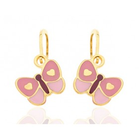 """Brisures en or jaune 18 carats """"papillons"""" laqués pour filles."""