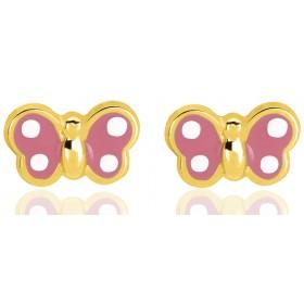 """Boucles d'oreilles en or jaune 18 carats """"papillons"""" laqués pour filles."""