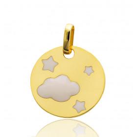 """Pendentif en or jaune 18 carats """"nuage étoilé"""""""