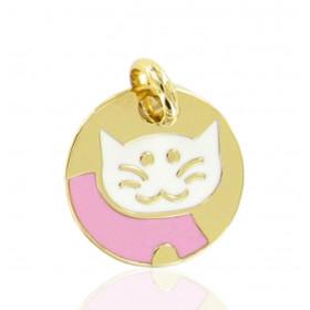 """Pendentif en or jaune 18 carats """"chat drôle"""" 14 mm"""