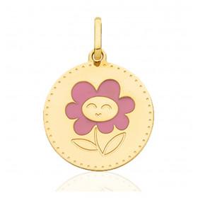 """Pendentif en or jaune 18 carats """"fleur drôle"""" 15 mm"""