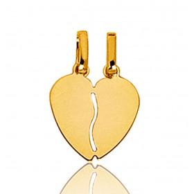 """Pendentif en or jaune 18 carats """"cœur à partager"""" 12 mm"""