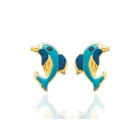 """Boucles d'oreilles en or jaune 18 carats """"dauphins"""" laqués bleu pour filles."""
