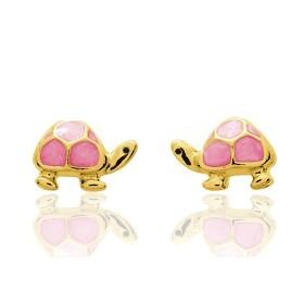"""Boucles d'oreilles en or jaune 18 carats """"tortues"""" laqués rose pour filles."""