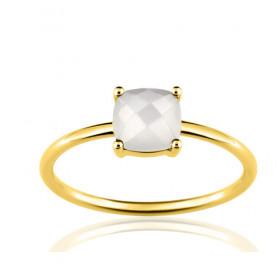 Bague or jaune 18 carats et pierre de lune pour femmes