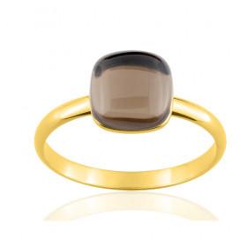 Bague or jaune 18 carats et quartz fumé pour femmes