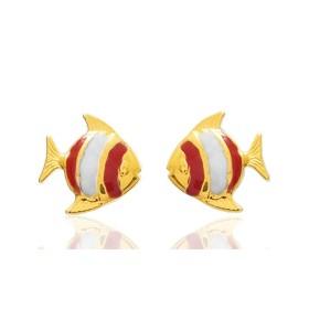 """Boucles d'oreilles en or jaune 18 carats """"poissons"""" laqués rose pour filles."""