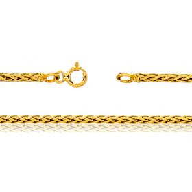 Bracelet femme or jaune 18 carats maille palmier 18 cm