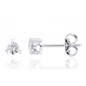 puces d'oreilles en or blanc 18 carats et diamant trois griffes à partir de 0,08 carats pour femme