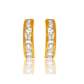 Demi-créoles en or jaune et zirconium