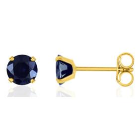 Boucles d'oreilles femme or jaune 18 carat et saphir 3,5mm