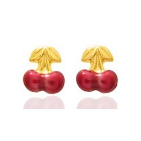 Boucles d'oreilles or jaune laqué cerises pour filles.